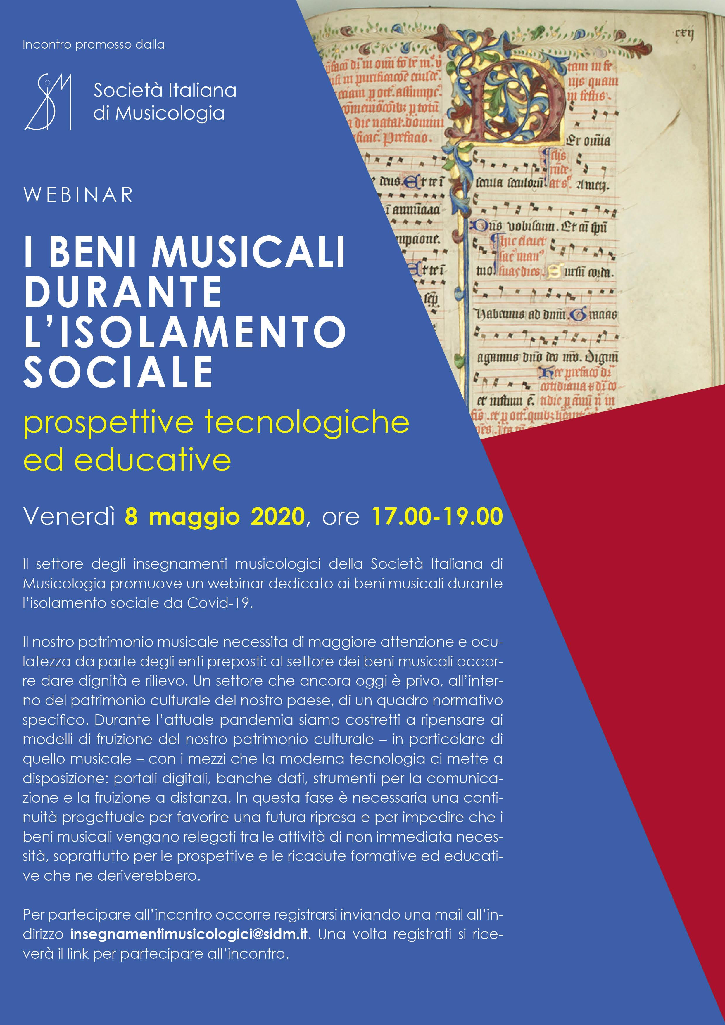 WEBINAR - I beni musicali durante l'isolamento sociale: prospettive tecnologiche ed educative